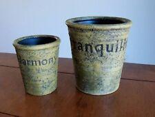 Set of 2 Moss Green Raz Imports Textured Harmony Tranquility Planter Plant Pots