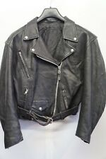VINTAGE WOMAN'S DISTRESSED LEATHER MOTORCYCLE BRANDO JACKET SIZE S-M