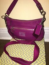 COACH 20017 Plum Purple Daisy Liquid Gloss Satchel Purse Crossbody Bag
