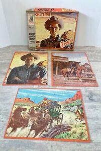 Cheyenne Clint Walker Milton Bradley 3 Puzzles Jigsaw lot Vintage 1957 Complete