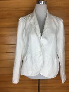 Kew White Linen Cotton Lined Blazer Jacket Size 14 EUC