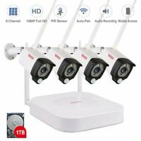 Tonton 8CH Wireless 1080P NVR WIFI Camera CCTV Security System Home Video 1T Kit