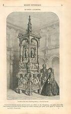 Poèle en Terre Cuite  Augsbourg Bavière Allemagne GRAVURE ANTIQUE OLD PRINT 1863