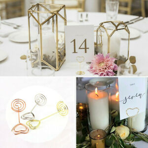 10pcs Heart Photo Clip Table Number Card Memo Note Holder Wedding Party Decor UK