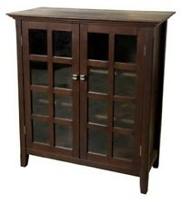 Simpli Home Acadian Collection Tobacco Medium Storage Media Cabinet Buffet