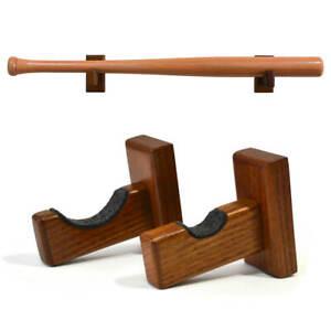 Set of 2 wooden baseball bat mounts
