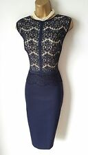 Phase Eight Dress 16 BNWT Ivy Navy Blue Lace Stretch Wiggle Party Christmas