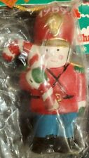 8 - 1989 Holiday Christmas Tree Ornament Ceramic Toy Soldier with Candy Cane NOS