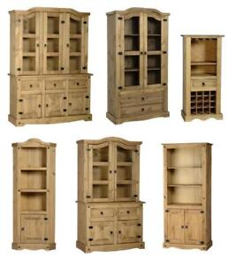 CORONA MEXICAN PINE BUFFET HUTCH, GLASS DOOR DISPLAY UNIT FREE DELIVER