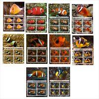 2012 CLOWN FISH FISHES MARINE LIFE 10 BLOCKS  MNH IMPERFORATED