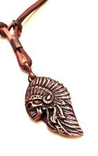 Native American Indian Chief Head Leather Necklace - Collar