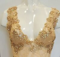 Sequinned sleeveless lace cami top blouse in golden beige champagne color.