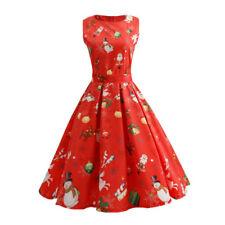 Women Christmas Vintage Dress Santa Claus Deer Print Retro A-Line Pleated Dress