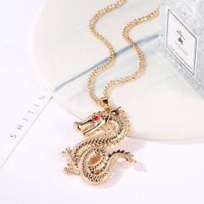 Retro Zodiac Fashion Rhinestone Dragon Crystal Necklace Chinese Style Jewelry