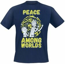 Rick and Morty Peace Among Worlds T-shirt Navy L