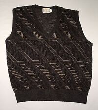 London Fog Wool Blend Brown/Black Vintage USA Sweater Vest Size L Pattern Design