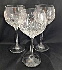 "3 Rothschild Noritake Cut Glass Clear Wine Glasses 7 1/4"" 918 Flowers Thumbprint"
