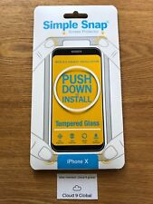 Apple iPhone X Simple Snap Screen Protector Tempered Glass EASY INSTALL 5 6 7 8