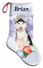 NEW Personalized Siberian Husky Dog Puppy Lover Christmas Stocking Embroidered