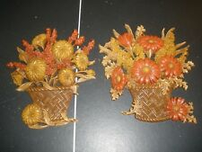 Vintage Burwood Products Wall Hanging Set Of 2 Flowers in a basket All Season's