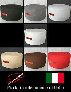 POUF POUFF PUFF TONDO MORBIDO GRANDE TESSUTO MANIGLIA DESIGN MADE IN ITALY