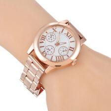 Fashion Women Roman Numbers Quartz Analog Alloy Gold Plated Dress Wrist Watch