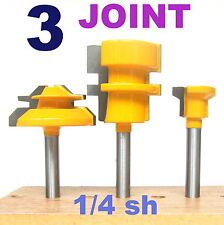 """3pc1/4"""" Shank 45° Miter, Glue & Drawer Lock Joint Router Bit Set sct-888"""