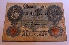 Germany Empire Kaiserreich 20 Reichsmark 1914 Ro 47b gebr used 7 stellig