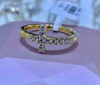 0.50Ct Round Cut VVS1//D Diamond Cross Anniversary Ring 14K Yellow Gold Finish