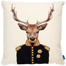 More details for stag cushion cover throw pillow portrait uniform military deer cute fdc40
