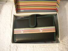 Visconti  Ladies Soft Leather Large Bifold Wallet Blk/Tourqoise stitc W/Zippered