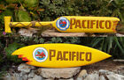 """Pacifico Wood Surfboard & Paddle Mexican Beer Tiki Bar Sign Wall Plaque 39"""""""