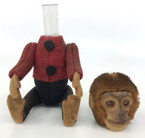 Schuco Monkey BellHop Perfume Holder c1930s Felt Mohair Plush 5in 12cm Antique