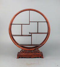 display stand red hard wood Chinese carved round style put small curio shelf