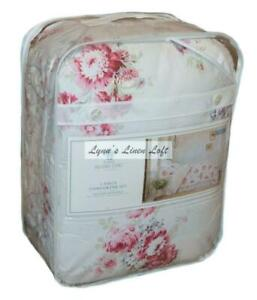 SIMPLY SHABBY CHIC Sunbleached TWIN COMFORTER SET Magenta Floral Cottage COTTON