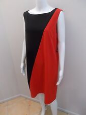 NEW RRP$129 NINE WEST CHERRY RED/BLACK EXPOSED ZIP DRESS SIZE 14=16 AUST (#1573)