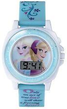 Disneys Frozen Let It Go Singing Sound Effect Digital Watch Blue Patterned Strap