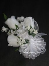 WHITE SILK ROSES WRIST CORSAGE for the BIG day
