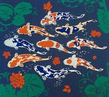 Prosperous Picture Carp Blue Thai Silk Home Wall Decor Painting Poster Print