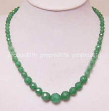 18'' 6-14mm Natural Faceted  Emerald Gemstone beads Jewelry Necklaces PN1039