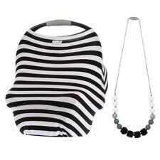 Itzy Ritzy Gift Mom Boss 4-in-1 Multi-Use Cover Black & WhiteStripe + Necklace