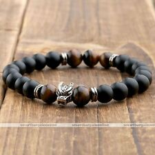 Unisex 8mm Dragon Head Agate Tiger Eye Chakra Stone Bead Mala Bangle Bracelet