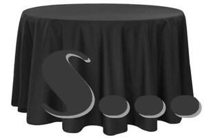 "Linen Tablecloth 120"" Round Fabric Black for Wedding Restaurant Banquet"