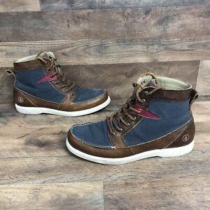 Volcom Men's Berrington Chukka Boots Leather Blue Canvas Lace Up Shoes Size 10.5
