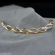 14k Gold plated with Swarovski crystals elegant bangle bracelet