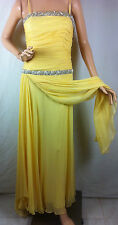 New Womens Yolanda Arce Collection Draped Bustier Gown Long Dress SZ Med Yellow