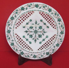 """12"""" White Marble Round Dish Plate Mosaic Inlay Filigree Table Decor Gifts H2758"""