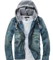 Men's Vintage Denim Hooded Zip Jean Jacket Hoody Coat Outwear Slim Youth Solid