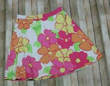 VTG Lilly Pulitzer White Label A Line Skirt Womens Size 10 Pink Floral Mod Retro