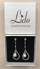 LIDO JOHN LEWIS Pave Teardrop Freshwater Pearl Sterling Silver Earrings RRP £95